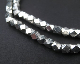 130 Diamond Cut Faceted Silver Beads 5mm - Metal Spacer Beads - Jewelry Making Supplies - Silver Spacers  ** (FCT-USU-SLV-116)