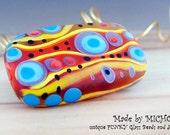 Modern - Art Glass - Lampwork bead in multicolor and stripes - 1free shaped focal bead - by Michou P. Anderson