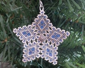 Star Christmas Ornament Tree Decoration in denim blue and shaded silver peyote stitch with custom hanger filigree open pattern