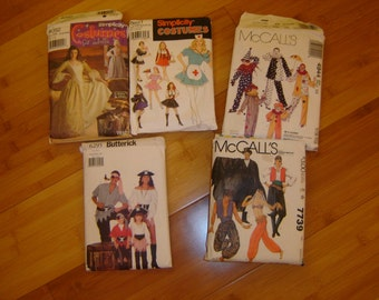 Costume patterns lot of 3 Colonial Pirate nurse uncut 2 extra used