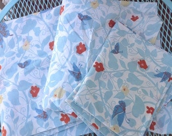 Vintage Morgan Jones blue red floral flower butterfly bed sheet set Full flat & full fitted 2 pillowcases Vintage linens