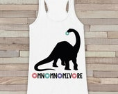 Dinosaur Shirt - Hungry Dinosaur, Donuts, Omnomnomivore - Womens White Tank Top - Funny Shirt - Dinosaur Lover Gift Idea -  Gift For Her