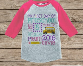 Girls First Day of Preschool Outfit - Custom Personalized Preschool Stats Shirt - Kids Stats Pink Raglan - Girls My 1st Day of School Outfit