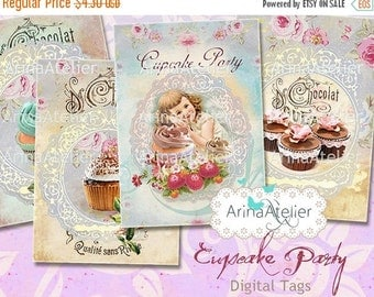 SALE 30% OFF - Cupcake Party Tags - Cakes Tags - Digital ATC Cards - Tags - Download Collage Sheet - Printable Sheet