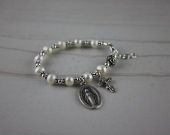 Freshwater Pearl and Sterling Silver Children's or Adults Rosary Bracelet