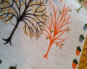 Vintage Signed Don Autumn Acorns And Trees Handkerchief