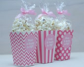 12 Custom Popcorn Box Favors - Personalized Labels - Baby Shower Favors - Ready to Pop - Pink Popcorn Boxes - Stripes - Dots - Chevrons