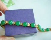 Jade Green Clear Stones Bracelet