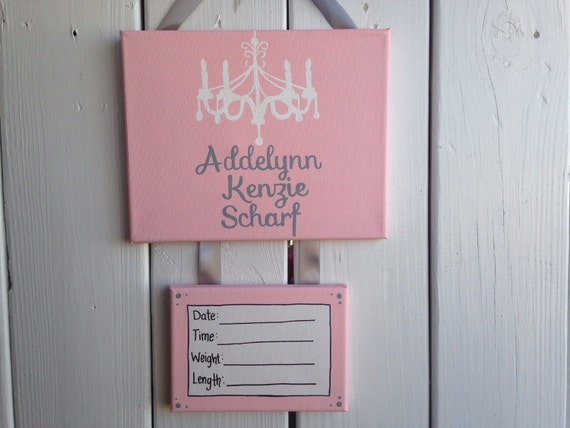 Shabby chic baby girl hospital door decoration door hanger for Baby girl hospital door decoration