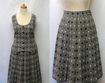 1960s / 70s Vintage Pendleton Vest & Skirt Suit / Black and White Wool Tweed Top and Skirt