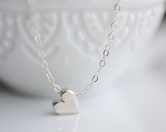 Tiny Sterling Silver Heart Necklace - Small Heart Necklace - Little Silver Heart Necklace - Dainty Heart Necklace -Girlfriend Heart Necklace