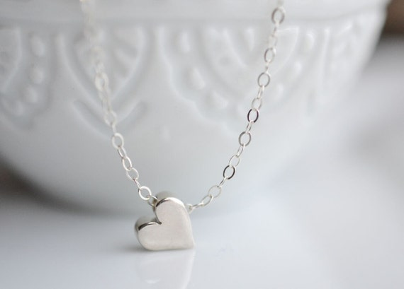 Tiny Sterling Silver Heart Necklace - Simple Minimalist Necklace - Small Heart Necklace