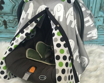 Carseat Canopy Elephant / car seat cover / nursing cover / carseat canopy / carseat cover