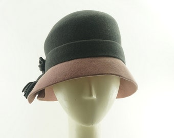 CLOCHE HAT for Women - Two-Tone - Color Block - Pink & Gray - 1950's Hat - Vintage Style -  Retro Fashion - Fedora Hat - Millinery Hat