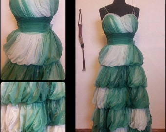 Vintage 1950s Green Ombre Dream Gown XS Prom Dress Tiered Bubble Debutante