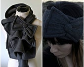 Ruffled Bow Scarf and Earwarmer Set - MADE-TO-ORDER fleece - Many colors to choose from