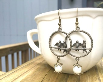 Earrings - Dangle - Bronze Birds and White Pearls