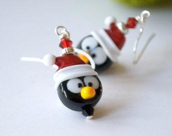 Red Penguin Earrings - Lampwork Glass Earrings - Christmas Earrings - Santa Hat Earrings - Bird Earrings