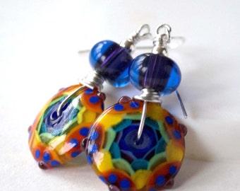 Colorful Pinwheel Earrings, Lampwork Glass Earrings, Glass Bead Earrings, Large Disc Earrings, Bright Rainbow Earrings