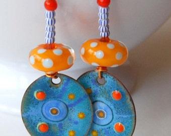 Orange Blue Earrings, Enamel Earrings, Polka Dot Earrings, Lampwork Glass Bead Earrings, Funky Earrings, Whimsical Earrings