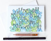 Zombie Horde A6 illustrated blank Greeting Card