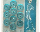 "10 Vintage Buttons, Le Chic Buttons, Aqua Blue Buttons, Bonnie Blue, 3/4"" Buttons, As New on Cards 1960s Japan"