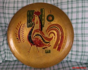 SALE Vintage Georges Briard Rooster Tole Tray Mid Century Artist Signed