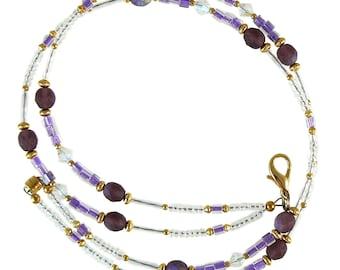 Absolutely beautiful purple beaded break away lanyard, necklace, and eyeglass holder