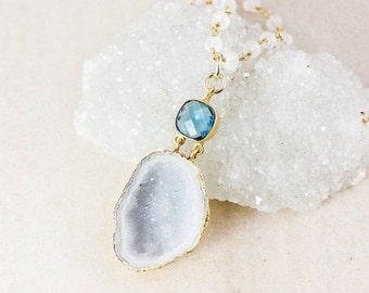 50% OFF Druzy Layering Necklace - Choose Your Stone - Rainbow Moonstone Beads