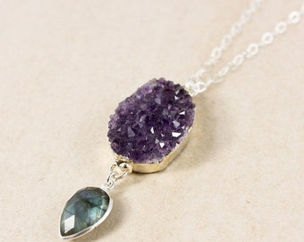 50 OFF SALE Silver Purple Amethyst Druzy Crystal & Blue Labradorite Necklace - Boho Jewelry