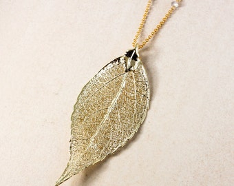 Gold Dipped Evergreen Leaf Necklace - Fall Necklace - Leaf Jewelry