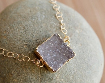 CLEARANCE SALE Single Druzy Quartz Gemstone Bracelet - Gold Filled - Minimalistic, Choose Your Stone