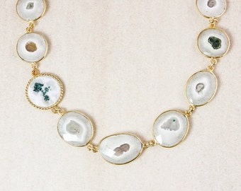 40 OFF SALE Solar Quartz Bib Necklace – 14kt Gold Fill
