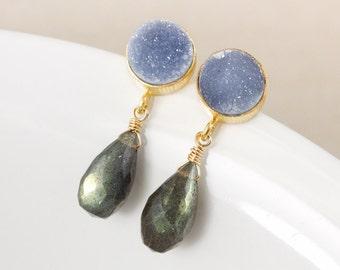 Blue Labradorite Dangle Earrings – Blue/Grey Druzy