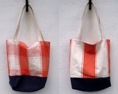 Orange Striped and Checked Unlined Fabric Shopper with Canvas Handles