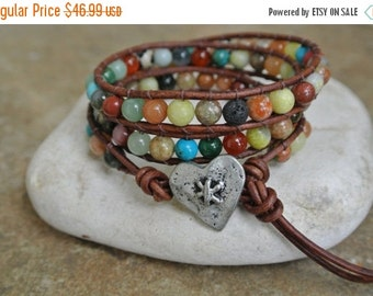 Summer Sale JustHipStuff Gemstone Heart  Beaded Leather Wrap Bracelet          STOREWIDE SALE 20%   Coupon code SALE20