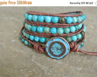 30% OFF SALE Zelia Turquoise Beaded Leather Wrap Bracelet