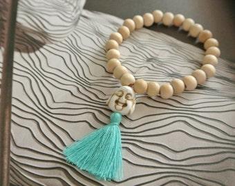 Bubbah Magnetite/ Wood Tassel Bracelet / Boho Chic Style