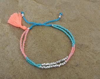 Summer Boho Chic - Beaded Tassel Bracelet/Anklet - Peach/Turquoise/Glass Beads/Pewter - Friendship Stackable Bracelet ~