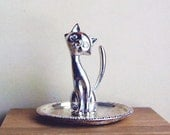 Vintage Cat Ring Holder Silver Plate Ornate Elegant Graceful Feline Vanity.