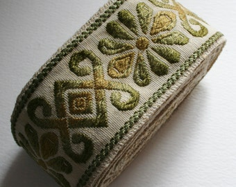 Wide Vintage Upholstery Trim Floral Green Brown and Cream Ombre Design 4 Meters