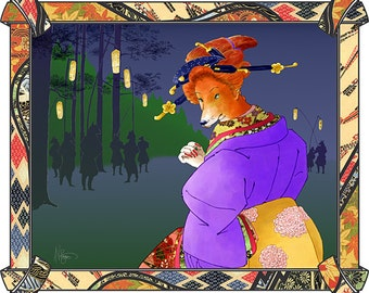 The Vixen - by Victor Bosson, children's iBook illustration, foxes, fantasy, art print