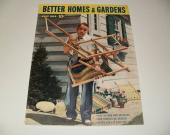 Vintage Better Homes and Gardens Magazine July 1939 - Scrapbooking, Paper Ephemera, 1930s Vintage Ads