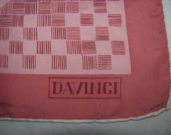 Vintage Davinci Square Silk Scarf - Soft Pink Border, Large Scale Floral Pattern - White Hand Rolled Hem