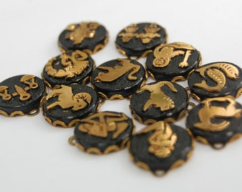 Vintage Glass Zodiac Pendants Astrology Full Set Black & Gold 13mm