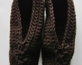 Crocheted Men's Slippers fits Sizes 11 to 12, Fathers Day Gift, Brown