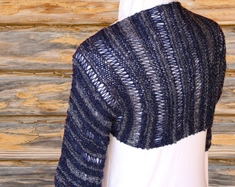 Knit Shrug Pattern, Easy to Knit Shrug Patterns, Knit Sweater Pattern, Knitting Pattern for Patons Glam Stripe Yarn