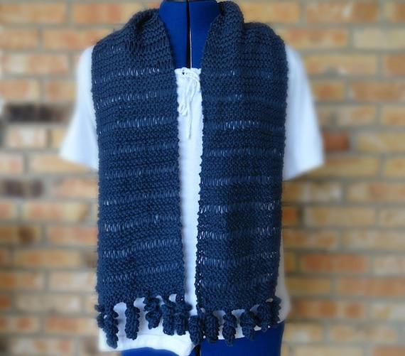Knitting Pattern For Corkscrew Scarf : Easy Knit Scarf Pattern, Knit Scarf Design with Crocheted Corkscrew Fringe, K...