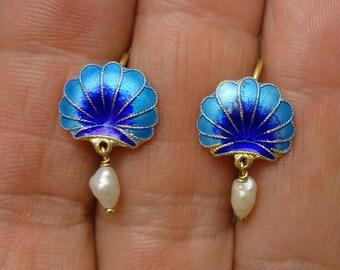 Pretty Sterling Silver .925 Gold Vermeil Blue Enamel Sea Shell & Pearl Earrings FREE Shipping