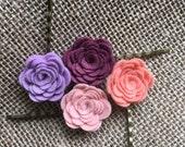 Felt Flower Roses Antique Bronze Bobby Hair Pins ,- Pink, Plum, Lavender, Coral - Set of 4